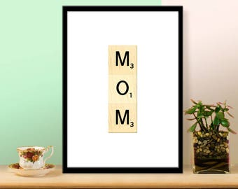 Printable Mother's Day Print - Vertical Scrabble Art Gift for Mom - INSTANT DOWNLOAD