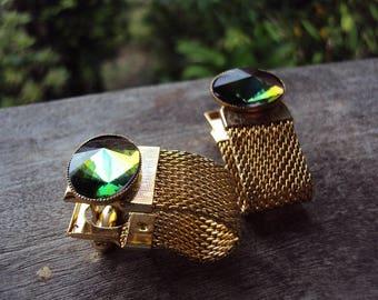 Retro seventies gold mesh cufflinks with watermelon rhinestones