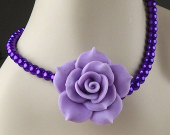 Purple Rose Necklace, Purple Bridesmaid Wedding Jewelry, Flower Necklace, Polymer Clay Jewelry, Purple Beaded Necklace, Flower Jewelry Set