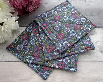 Quilted Coasters, Set Of Coasters, Housewarming Gift, Fabric Coasters, Coffee Coasters, Blue Floral Coasters, Mini Quilts, Mug Rugs