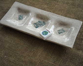 Mahjong Dish - Oriental Plate - Snack Plate for Mahjong - Relish Tray - Mah Jong Pottery - Dip Dish - Mahjong Gift