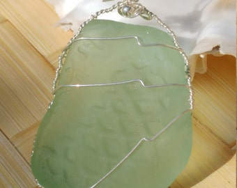 Maui seaglass pendant in seafoam green wrapped in sterling silver wire