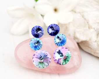 Purple blue Swarovski crystal earrings bridesmaid wedding Swarovski jewellery Sterling Silver stud earrings  Vitrail light 3 Rivoli earring