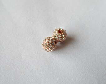 10mm Rose Alloy Crystal Pave Bead