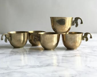 Set of 5 Solid Brass Tea Cups with Fish Handles / Brass Cups / Brass Fish Cups / Brass Fish Tea Cups / Brass Mugs / Fish Mugs