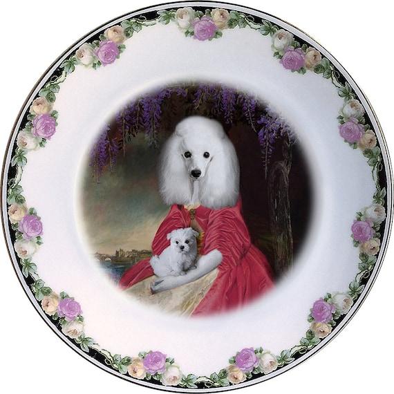 The duchess - Poodle - Vintage Porcelain Plate - #0442
