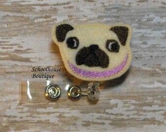 Pug Puppy Dog felt badge reel, name badge holder, nurse badge, ID holder, badge reel, retractable badge clip,feltie badge reel