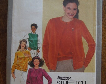 Simplicity 9594, sizes 10-14, sweater set or cardigan and pullover vest, stretch knits, UNCUT sewing pattern, craft supplies
