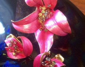 Vintage jewelry set , earrings clip earrings brooch combo , fashion jewelry enamels rhinestones