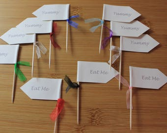 12 Smart Cupcake Flags, Sandwich Picks, Various Designs, Add Your Own Message