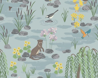 Down by the River A219.1 Light Blue Lewis & Irene Patchwork Quilting Dressmaking Fabric