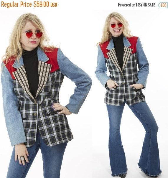 Vtg 90s Grunge DENIM and PLAID Jean Jacket PATCHWORK Fitted Blazer Preppy Boho Mod Retro Kitschy Club Kid Mixed Print Country Southwestern