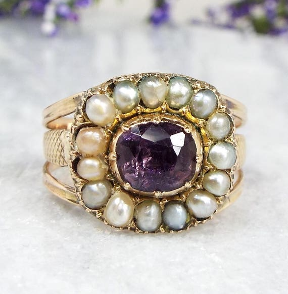 Antique Georgian Victorian 15ct Gold Amethyst and Pearl Cluster Ring / Size O 1/2