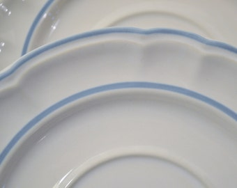 Vintage Floral Expressions Saucer Set of 4 Blue White Stoneware Japan Replacement PanchosPorch