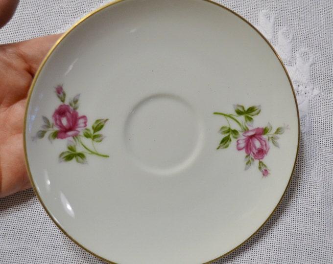 Vintage Symco Rose Lea Saucer White Pink Rose Wedding China Replacement Made in Japan PanchosPorch