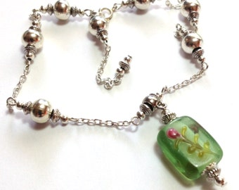 Green Anklet, Ankle Bracelet, Glass Bead, ANY SIZE, Silver Tone (MTO)