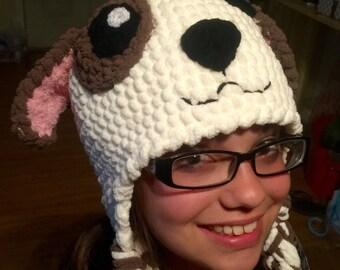 Puppy hat - crochet dog hat - crochet warm pup hat -