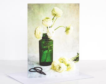Photo greeting card, Photographic greeting card. White Ranunculus Photographic Greeting Card. Floral Blank card. Floral greeting card.