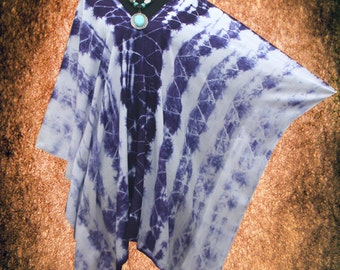 Indigo Shibori Wearable Art V neck Hand dyed Poncho Tunic Top