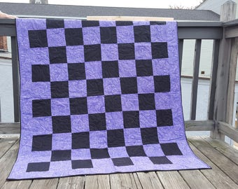 purple and black large throw