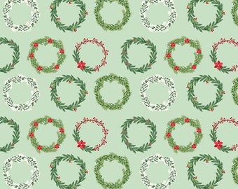 Comfort and Joy - Wreaths Light Green by Design by Dani for Riley Blake Designs, 1/2 yard, C6263-Lt Green
