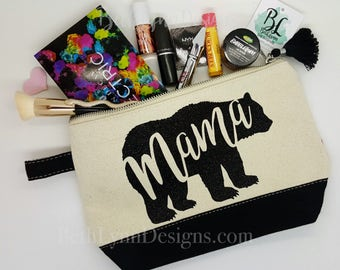Mama Bear | Black GLITTER Design | Cosmetic Bag | Cute Tassel | Mom Gift | Planner Bag | Mother's Day | Carry All Bag | Zipper Canvas Bag