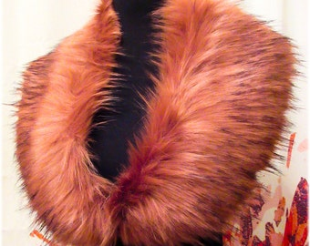 Luxury Long Pile Peach with black tips on edges Faux Fur Collar