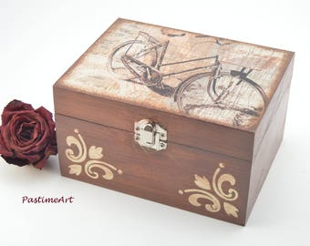 Wooden jewelry box, decoupage box, jewelry box, shabby chic box, bicycle decoration, home decoration, art box, handmade decoupage decoration