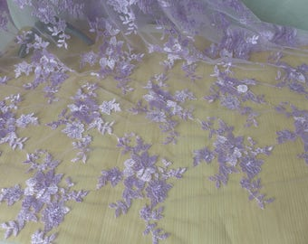 Lavender Lace Fabric French Embroidery Floral Fabric Soft Mesh Lace Fabric for Dresses