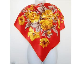 Marks & Spencer Ladies Scarf Scarlet Red Silky Vintage Large Flowers Floral Yellow Roses  Bright Colors Colourful Colorful 1970s Headscarf