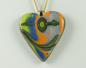 Polymer Clay Pendant Smiling Heart