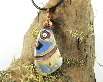 Polymer Clay Pendant Copper Spiral
