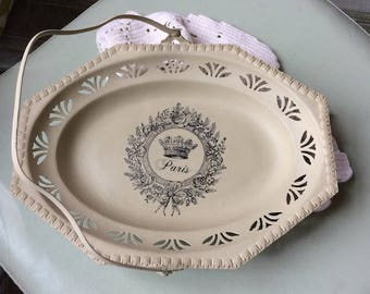 Chalk Painted Silver - Sage Green Painted Serving Tray - Decorative Tray