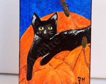 Cat painting. ACEO cards.  Miniature Art. Acrylic painting. Original aceo. Art cards.