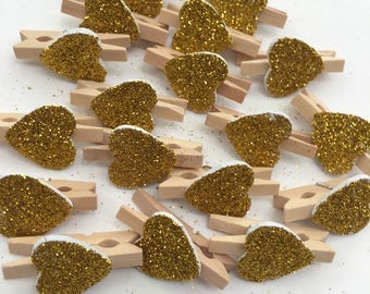 Wedding Gold Glitter Heart Pegs Rustic Small Wood Clothespins Set of 25