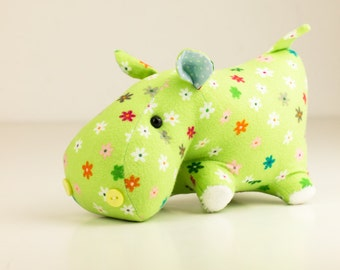 Green hippo toy animal handmade stuffed soft sewn toy game for jangest child