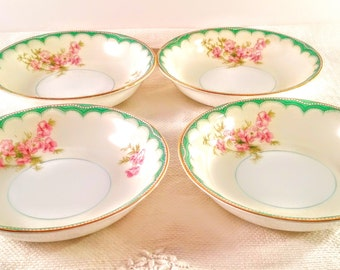 Set of 4 Noritake China Dessert/Fruit Bowls with Hand Painted Pink Cherry Blossom Flowers, Mint Green Details and 22 KT Gold Trim.