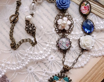 Vintage inspired necklace Rhinestone brass chain Victorian necklace Assemblage jewelry