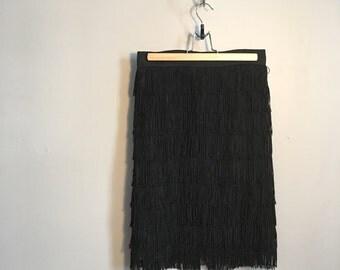1950's Flapper Skirt    50s High-Waisted Fringe Skirt    Roaring 20s style Skirt
