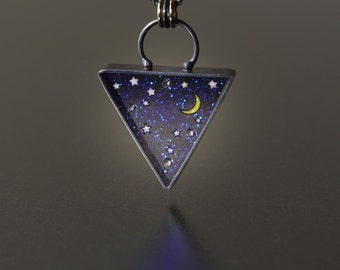 Deep Space Triangle Pliqué a Jour Necklace by Jackie Taylor