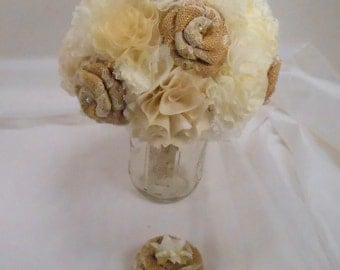 Burlap Wedding Bouquet, Bridal Bouquet, Fabric Bouquet, Burlap Bouquet, Rustic Bouquet, Vintage Bouquet, Burlap and Lace,