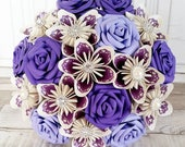 Paper Flower wedding bouquet rose origami kusudama lace royal cadbury purple french english lavender lilac pearl brooch diamante theme