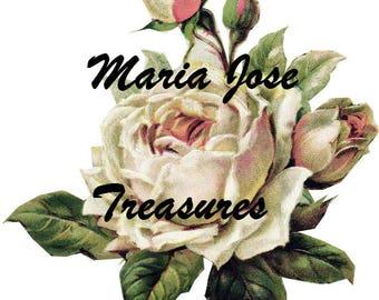 "Vintage Scraps, Cromos ""White rose""  - Digital Download"