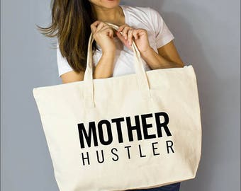"""Mother Hustler: 100% Natural Cotton Canvas 22""""W x 15""""L x 5""""D with Interior Zippered Pocket  and Bottom Gusset- By Alicia Cox/ Ellafly"""