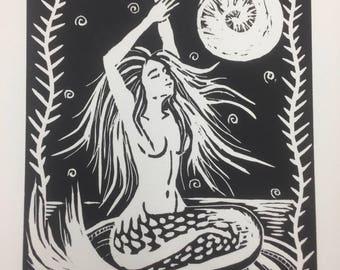 Mermaid Woodcut Print