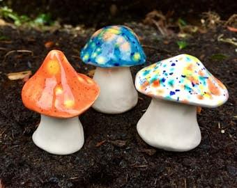 Fairy mushrooms -Three hand crafted ceramic toadstools - T157
