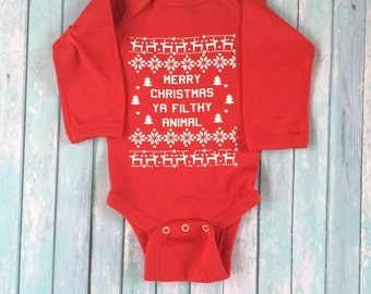 Christmas in July Sale! 15% OFF! Merry Christmas Ya Filthy Animal Baby Onesie, Ugly Sweater Onesie, Christmas Onesie