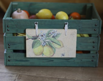 Wooden fruit crate, Big storage box, Rustic wooden box, Farmhouse crates, Wooden box for fruits, vegetables, onions.