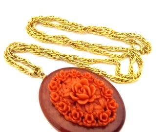 Vintage Red Coral Color Unique Celluloid Necklace Carved Flower Wood Nice Elegant