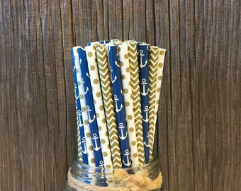 Navy Anchor Straws, 100 Paper Straws, Gold Dot Straws, Navy and Gold, Nautical Party Supply, Wedding Straws, Free Shipping